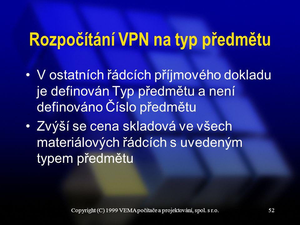 Copyright (C) 1999 VEMA počítače a projektování, spol. s r.o.52 Rozpočítání VPN na typ předmětu V ostatních řádcích příjmového dokladu je definován Ty