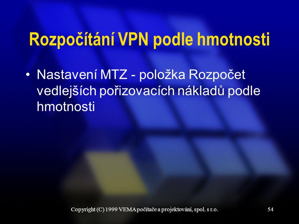 Copyright (C) 1999 VEMA počítače a projektování, spol. s r.o.54 Rozpočítání VPN podle hmotnosti Nastavení MTZ - položka Rozpočet vedlejších pořizovací