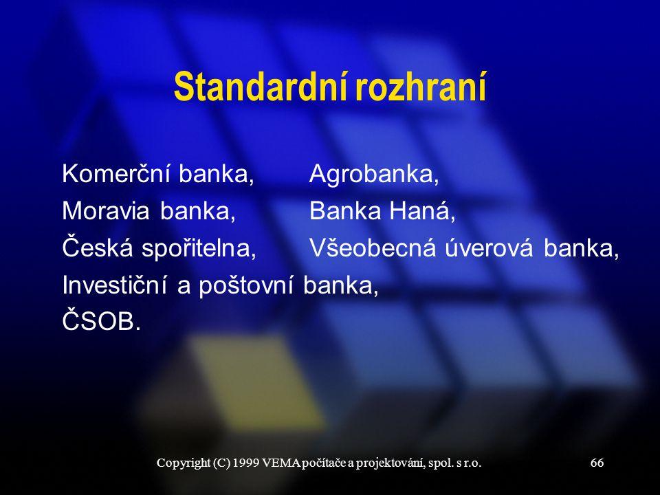 Copyright (C) 1999 VEMA počítače a projektování, spol. s r.o.66 Standardní rozhraní Komerční banka, Moravia banka, Česká spořitelna, Investiční a pošt
