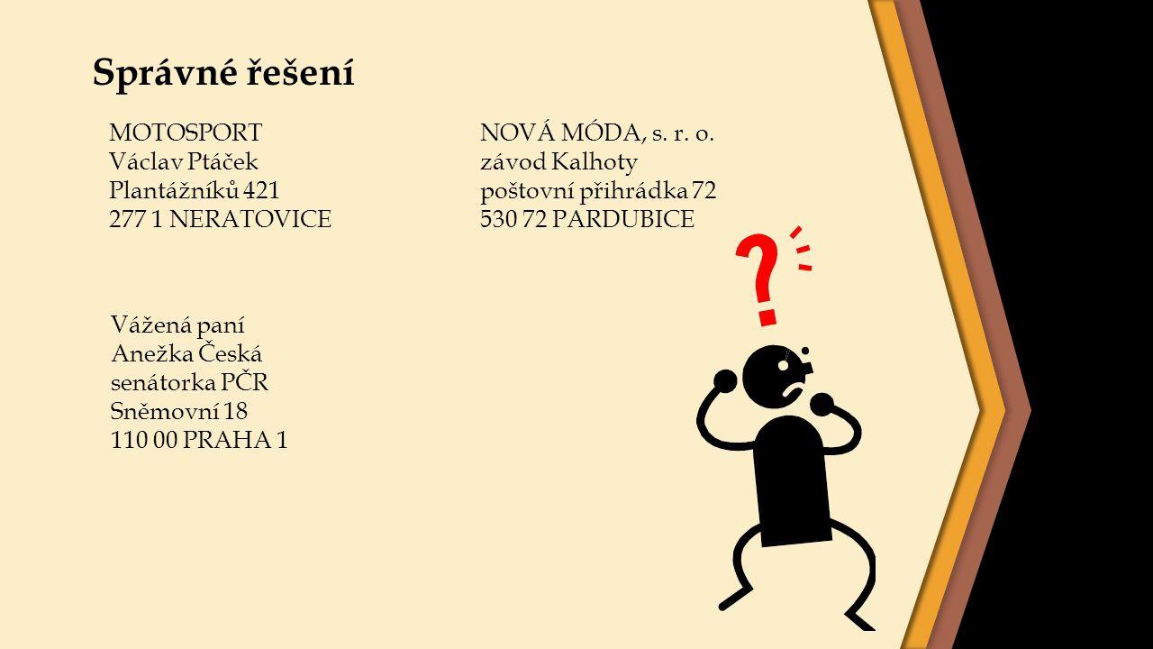 Správné řešení MOTOSPORT Václav Ptáček Plantážníků 421 277 1 NERATOVICE Vážená paní Anežka Česká senátorka PČR Sněmovní 18 110 00 PRAHA 1 NOVÁ MÓDA, s
