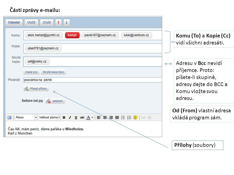 Části zprávy e-mailu: Komu (To) a Kopie (Cc) vidí všichni adresáti.