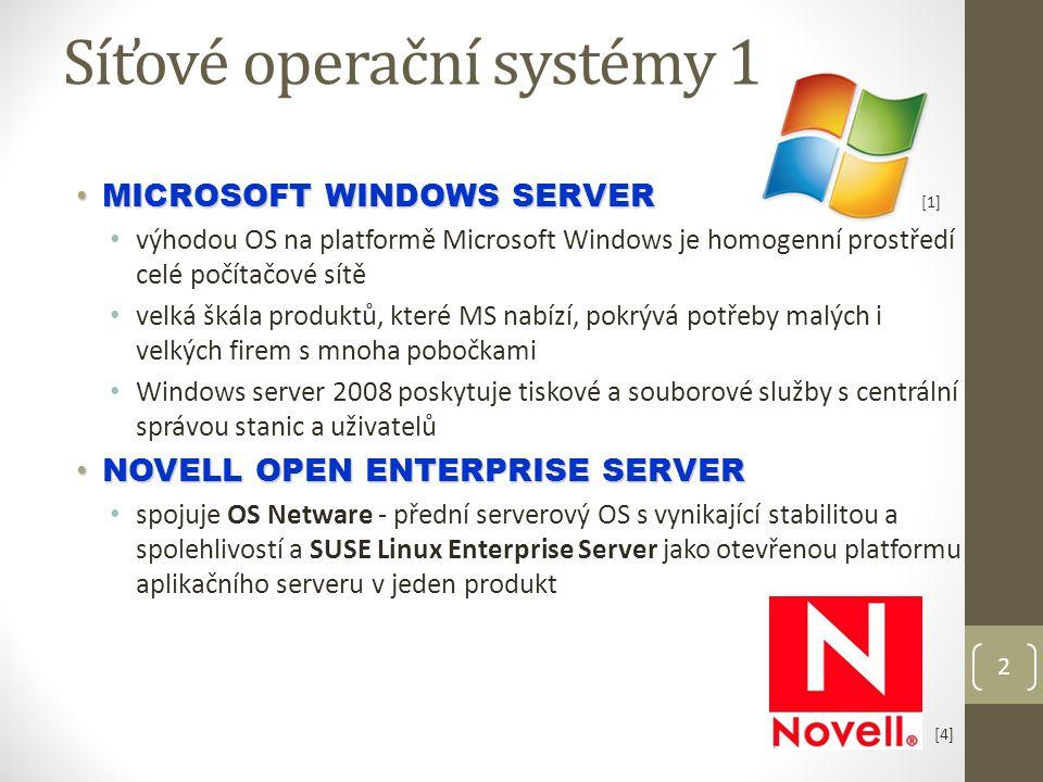 2 Síťové operační systémy 1 MICROSOFT WINDOWS SERVER MICROSOFT WINDOWS SERVER výhodou OS na platformě Microsoft Windows je homogenní prostředí celé počítačové sítě velká škála produktů, které MS nabízí, pokrývá potřeby malých i velkých firem s mnoha pobočkami Windows server 2008 poskytuje tiskové a souborové služby s centrální správou stanic a uživatelů NOVELL OPEN ENTERPRISE SERVER NOVELL OPEN ENTERPRISE SERVER spojuje OS Netware - přední serverový OS s vynikající stabilitou a spolehlivostí a SUSE Linux Enterprise Server jako otevřenou platformu aplikačního serveru v jeden produkt [1] [4]