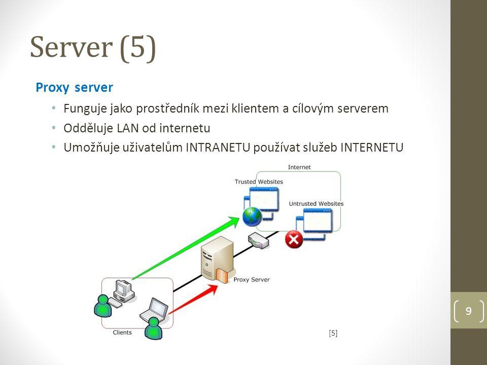 10 Funkce proxy serveru Filtrace obsahu filtruje obsah a umožňuje kontrolu v jednom i obou směrech kontrola využívání internetových služeb pro správné účely Podporují autentizaci uživatele přistupujícího k webu (log informací o uživatelích a provozu na webu – navštívené URL, apod.) Zvýšení výkonu komunikace server ukládá navštívené webové stránky do své CASH paměti a při opakujících se požadavcích klientů odesílá odpovědi přímo bez spojení s cílovým serverem Bezpečnost analyzuje komunikaci na přítomnost virů; šifruje a dešifruje požadavky Připojení více klientů k internetu klienti nemusí mít veřejné IP adresy pro přístup k Internetu IP adresy lokálních počítačů jsou překládány na jedinou veřejnou IP adresu Server (6)