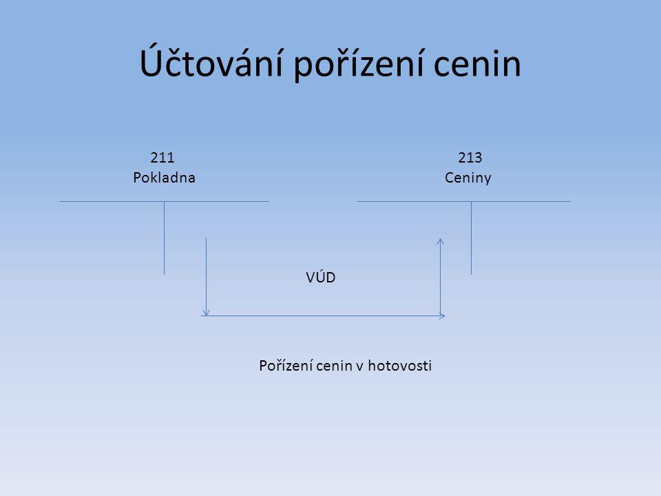Účtování pořízení cenin 211 Pokladna 213 Ceniny VÚD Pořízení cenin v hotovosti