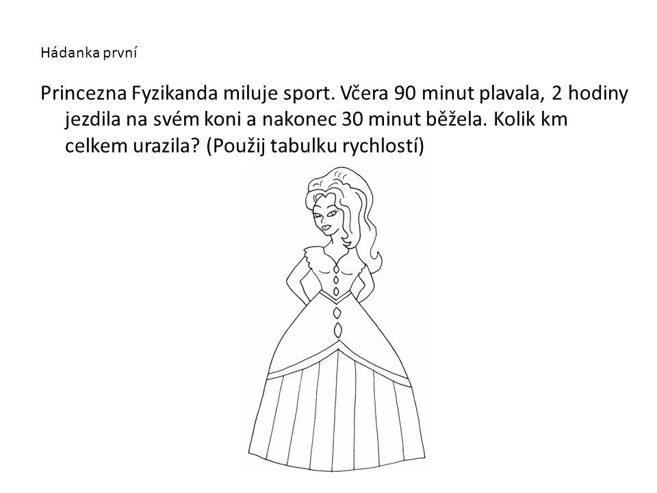Princezna Fyzikanda miluje sport. Včera 90 minut plavala, 2 hodiny jezdila na svém koni a nakonec 30 minut běžela. Kolik km celkem urazila? (Použij ta