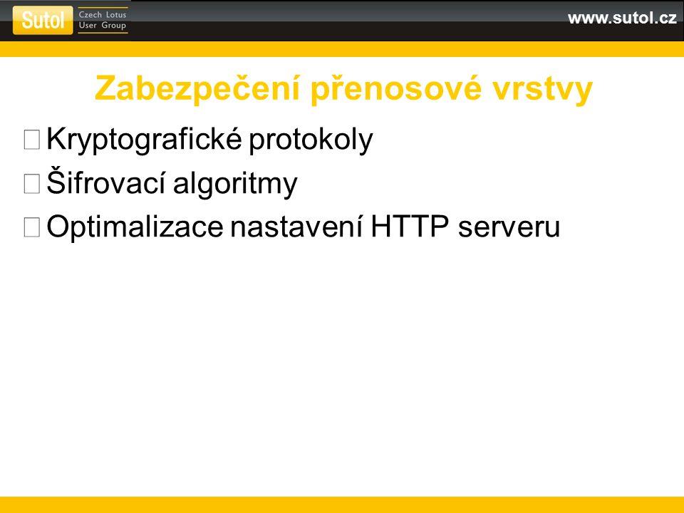 www.sutol.cz  Kryptografické protokoly  Šifrovací algoritmy  Optimalizace nastavení HTTP serveru Zabezpečení přenosové vrstvy