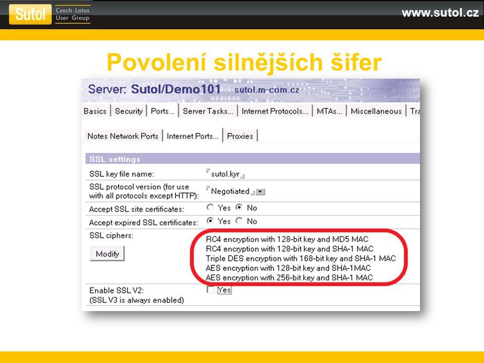 www.sutol.cz Povolení silnějších šifer