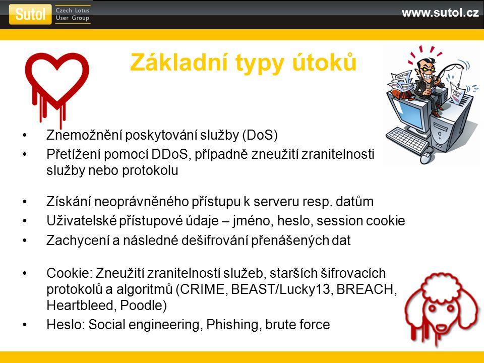www.sutol.cz Znemožnění poskytování služby (DoS) Přetížení pomocí DDoS, případně zneužití zranitelnosti služby nebo protokolu Získání neoprávněného př