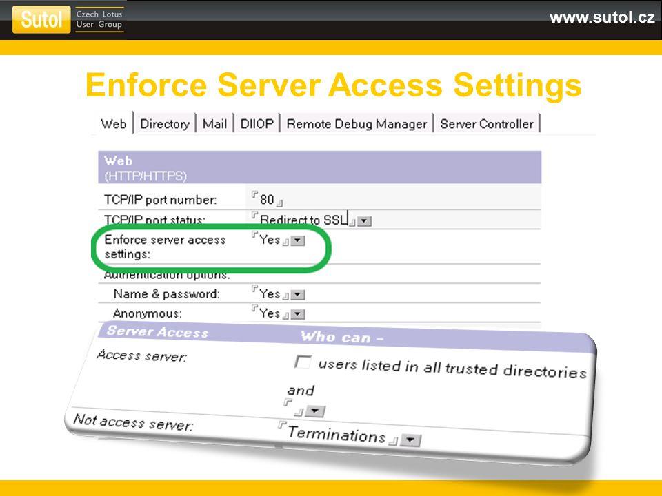 www.sutol.cz SSL 3.0 Selfsigned certifikát pomocí certsrv.nsf (512b public key, MD5 hash) Výchozí šifrovací algoritmy Výchozí konfigurace Domino