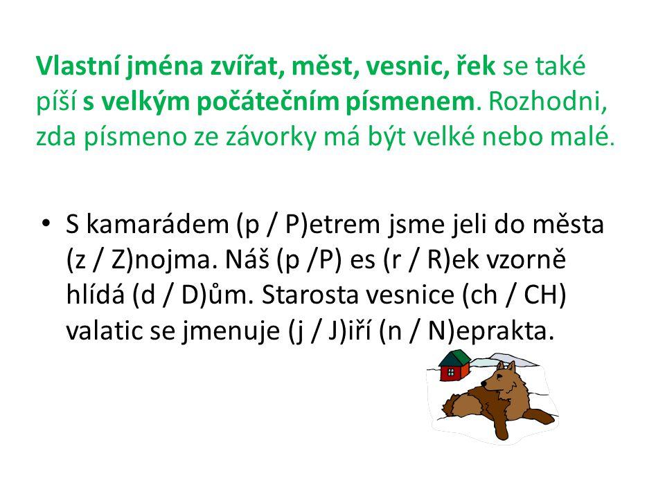 Vlastní jména zvířat, měst, vesnic, řek se také píší s velkým počátečním písmenem.