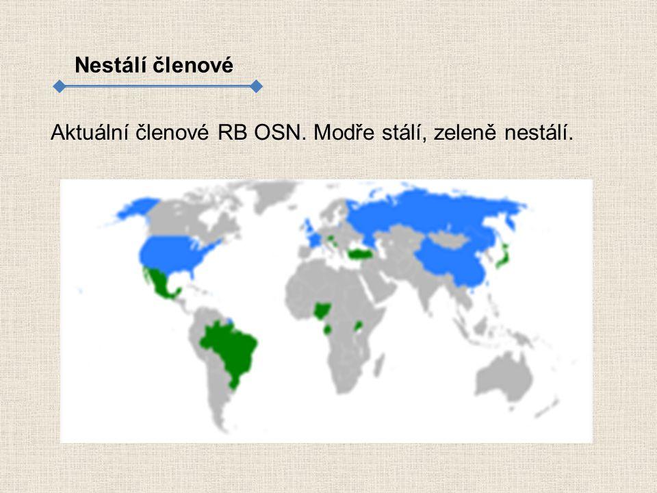 Nestálí členové Aktuální členové RB OSN. Modře stálí, zeleně nestálí.