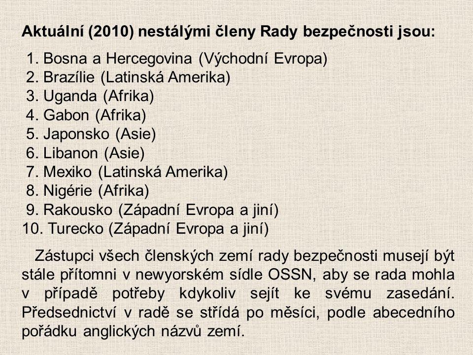 Aktuální (2010) nestálými členy Rady bezpečnosti jsou: 1. Bosna a Hercegovina (Východní Evropa) 2. Brazílie (Latinská Amerika) 3. Uganda (Afrika) 4. G