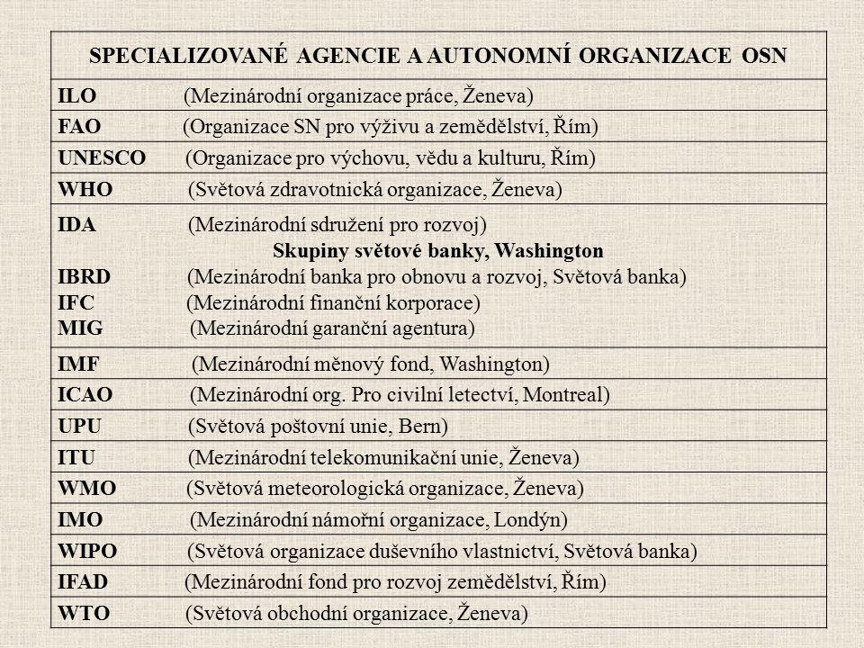 SPECIALIZOVANÉ AGENCIE A AUTONOMNÍ ORGANIZACE OSN ILO (Mezinárodní organizace práce, Ženeva) FAO (Organizace SN pro výživu a zemědělství, Řím) UNESCO
