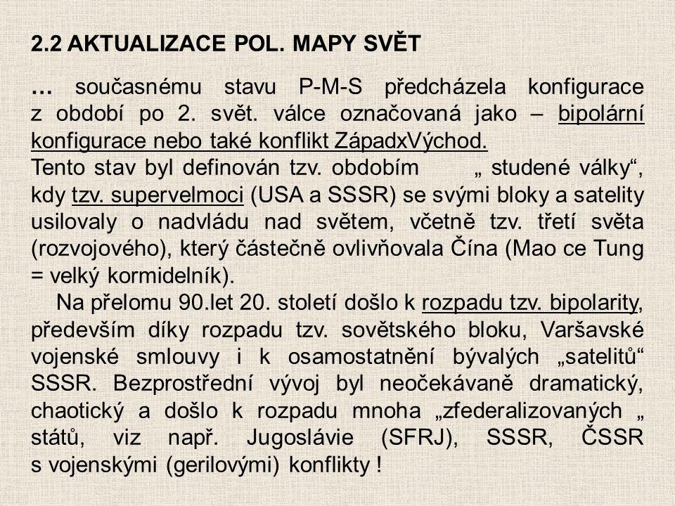2.2 AKTUALIZACE POL. MAPY SVĚT … současnému stavu P-M-S předcházela konfigurace z období po 2. svět. válce označovaná jako – bipolární konfigurace neb
