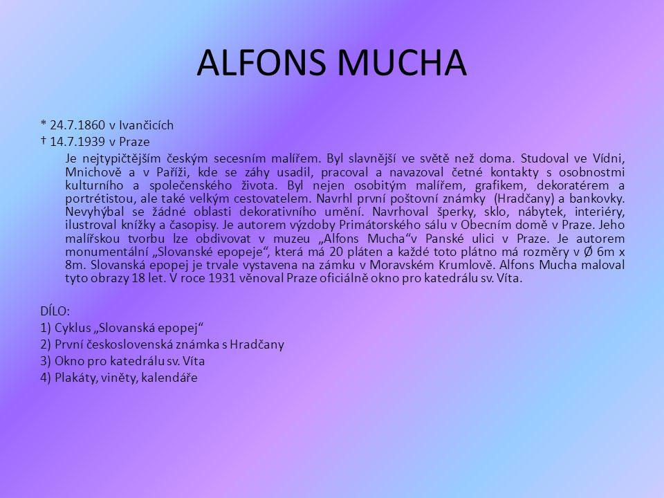Alfons Mucha při práci