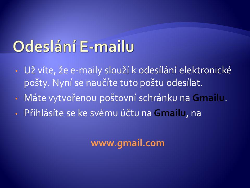 Už víte, že e-maily slouží k odesílání elektronické pošty.