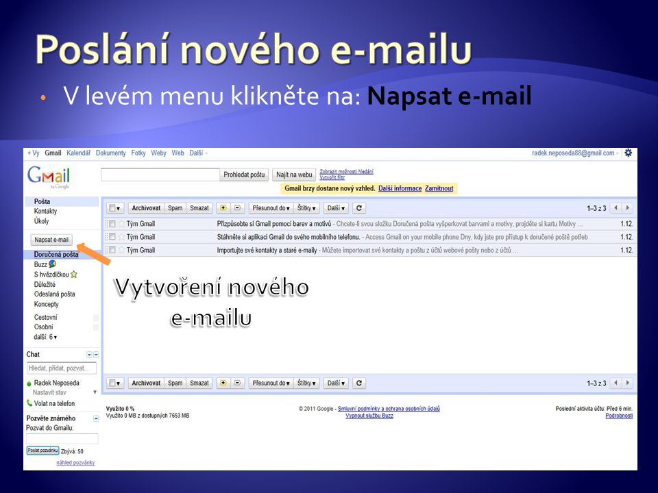 V levém menu klikněte na: Napsat e-mail