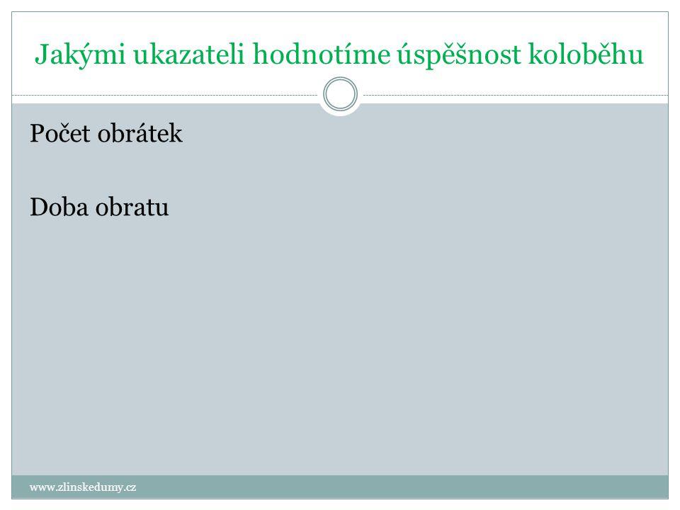 Jakými ukazateli hodnotíme úspěšnost koloběhu www.zlinskedumy.cz Počet obrátek Doba obratu