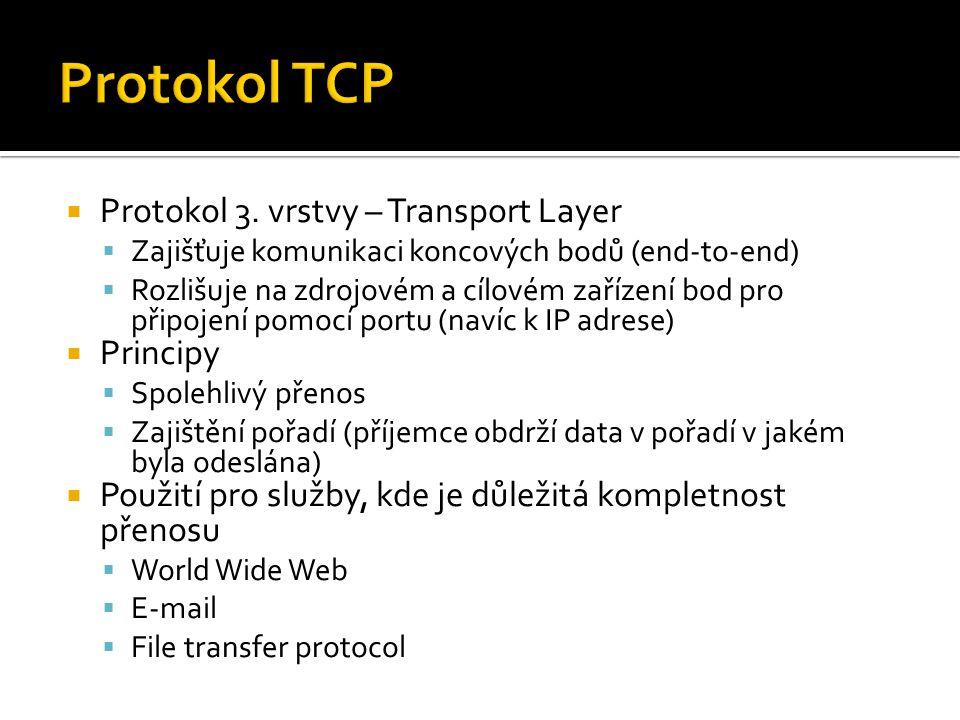  Protokol 3. vrstvy – Transport Layer  Zajišťuje komunikaci koncových bodů (end-to-end)  Rozlišuje na zdrojovém a cílovém zařízení bod pro připojen