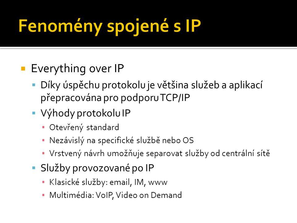  Everything over IP  Díky úspěchu protokolu je většina služeb a aplikací přepracována pro podporu TCP/IP  Výhody protokolu IP ▪ Otevřený standard ▪