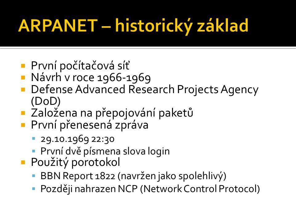  První počítačová síť  Návrh v roce 1966-1969  Defense Advanced Research Projects Agency (DoD)  Založena na přepojování paketů  První přenesená z
