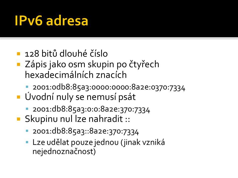  128 bitů dlouhé číslo  Zápis jako osm skupin po čtyřech hexadecimálních znacích  2001:0db8:85a3:0000:0000:8a2e:0370:7334  Úvodní nuly se nemusí psát  2001:db8:85a3:0:0:8a2e:370:7334  Skupinu nul lze nahradit ::  2001:db8:85a3::8a2e:370:7334  Lze udělat pouze jednou (jinak vzniká nejednoznačnost)