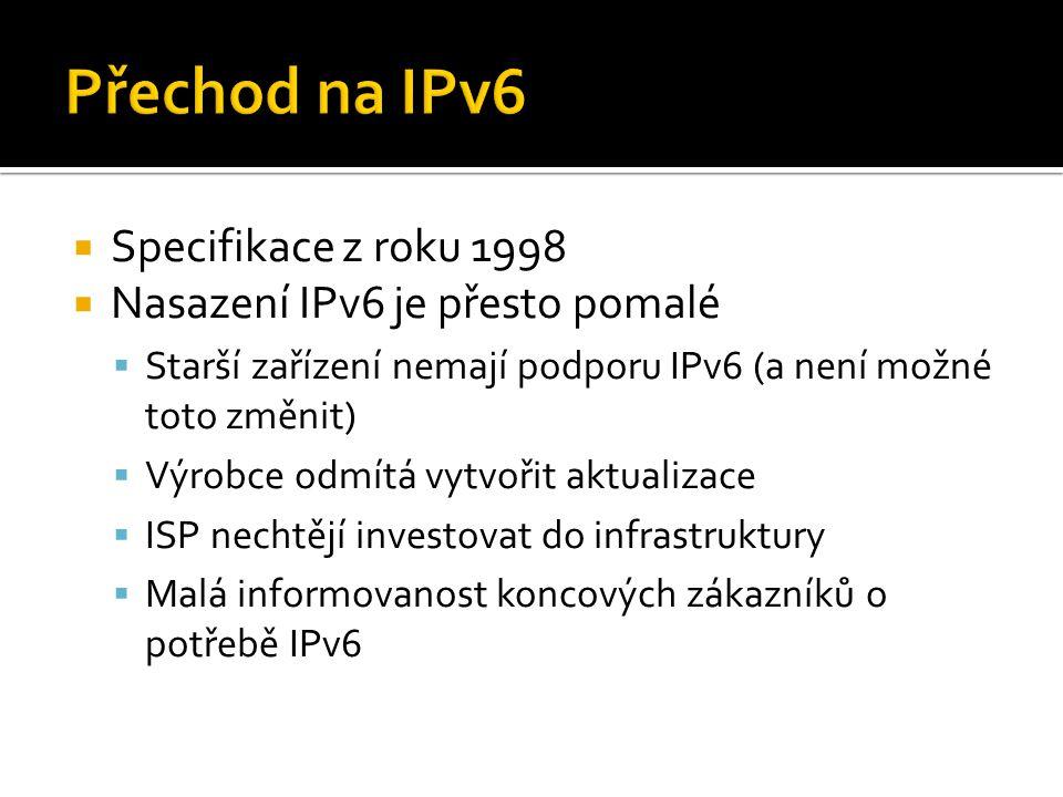  Specifikace z roku 1998  Nasazení IPv6 je přesto pomalé  Starší zařízení nemají podporu IPv6 (a není možné toto změnit)  Výrobce odmítá vytvořit aktualizace  ISP nechtějí investovat do infrastruktury  Malá informovanost koncových zákazníků o potřebě IPv6