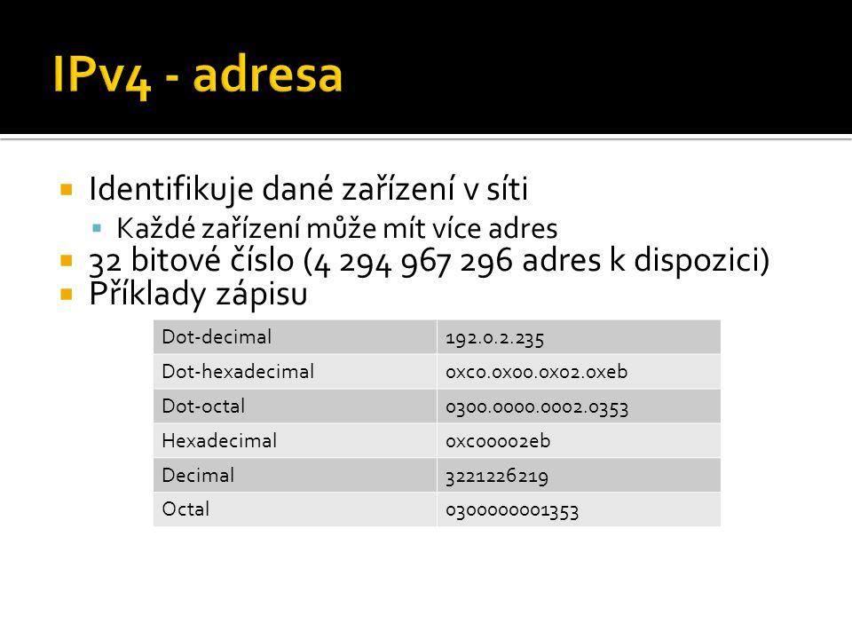  Identifikuje dané zařízení v síti  Každé zařízení může mít více adres  32 bitové číslo (4 294 967 296 adres k dispozici)  Příklady zápisu Dot-decimal192.0.2.235 Dot-hexadecimal0xc0.0x00.0x02.0xeb Dot-octal0300.0000.0002.0353 Hexadecimal0xc00002eb Decimal3221226219 Octal0300000001353