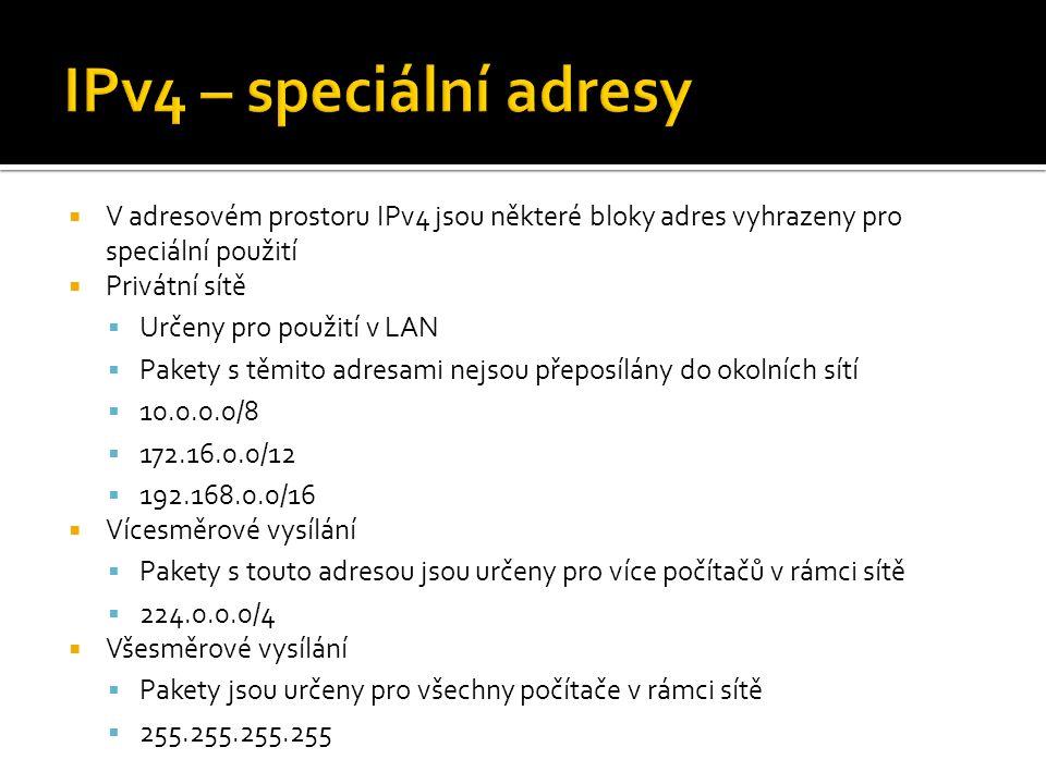  V adresovém prostoru IPv4 jsou některé bloky adres vyhrazeny pro speciální použití  Privátní sítě  Určeny pro použití v LAN  Pakety s těmito adre