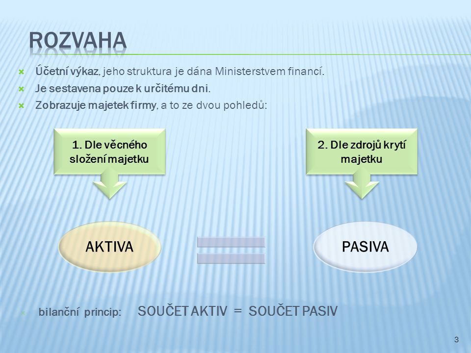  Účetní výkaz, jeho struktura je dána Ministerstvem financí.