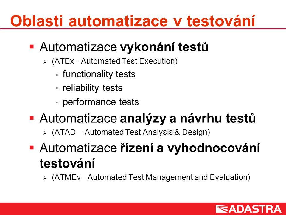 Oblasti automatizace v testování  Automatizace vykonání testů  (ATEx - Automated Test Execution)  functionality tests  reliability tests  performance tests  Automatizace analýzy a návrhu testů  (ATAD – Automated Test Analysis & Design)  Automatizace řízení a vyhodnocování testování  (ATMEv - Automated Test Management and Evaluation)
