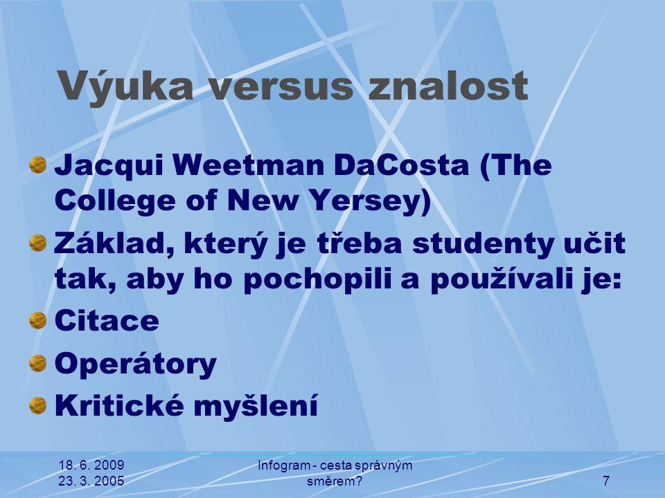 18. 6. 2009 23. 3. 2005 Infogram - cesta správným směrem?7 Výuka versus znalost Jacqui Weetman DaCosta (The College of New Yersey) Základ, který je tř