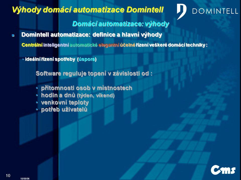 10/05/06 10 Výhody domácí automatizace Domintell Domintell automatizace: definice a hlavní výhody Domintell automatizace: definice a hlavní výhody Domácí automatizace: výhody Centrální inteligentní automatické elegantní účelné řízení veškeré domácí techniky : ideální řízení spotřeby (úspora) ideální řízení spotřeby (úspora) Software reguluje topení v závislosti od : p přítomnosti osob v místnostech h hodin a dnů (týden, víkend) v venkovní teploty p potřeb uživatelů