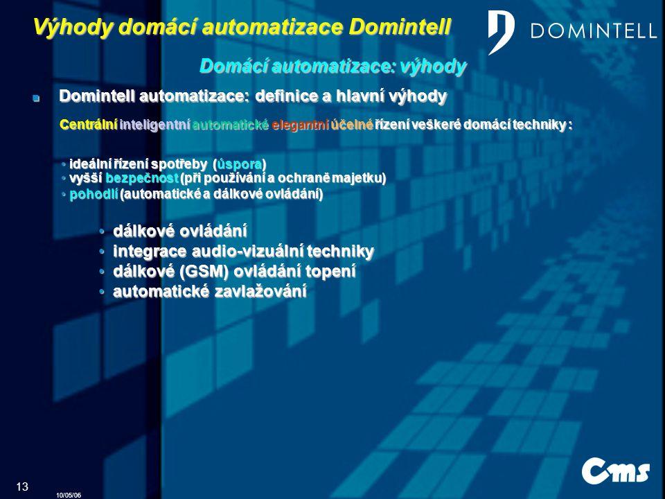 10/05/06 13 Domintell automatizace: definice a hlavní výhody Domintell automatizace: definice a hlavní výhody d dálkové ovládání i integrace audio-vizuální techniky d dálkové (GSM) ovládání topení a automatické zavlažování pohodlí (automatické a dálkové ovládání) pohodlí (automatické a dálkové ovládání) Výhody domácí automatizace Domintell Domácí automatizace: výhody Centrální inteligentní automatické elegantní účelné řízení veškeré domácí techniky : vyšší bezpečnost (při používání a ochraně majetku) vyšší bezpečnost (při používání a ochraně majetku) ideální řízení spotřeby (úspora) ideální řízení spotřeby (úspora)