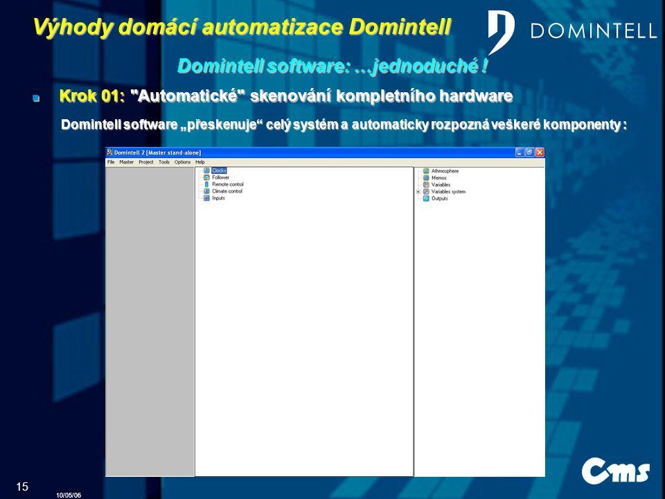 10/05/06 15 Výhody domácí automatizace Domintell Domintell software: …jednoduché …jednoduché .