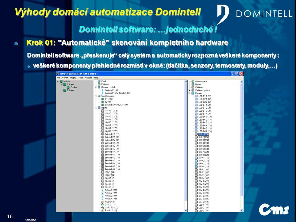 10/05/06 16 Výhody domácí automatizace Domintell Domintell software: …jednoduché .