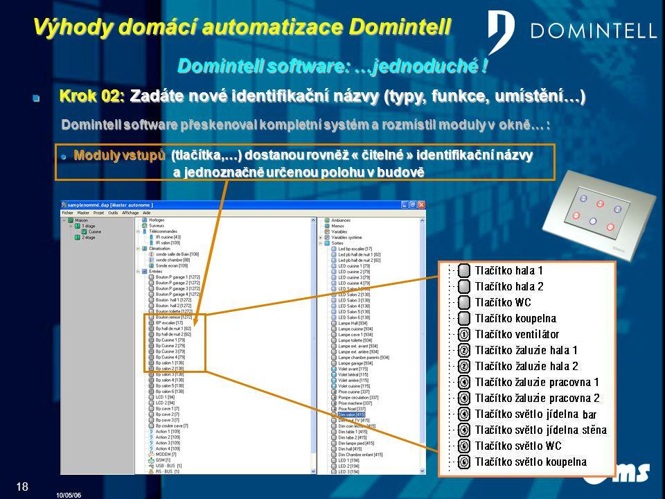 10/05/06 18 Výhody domácí automatizace Domintell Domintell software: …jednoduché .