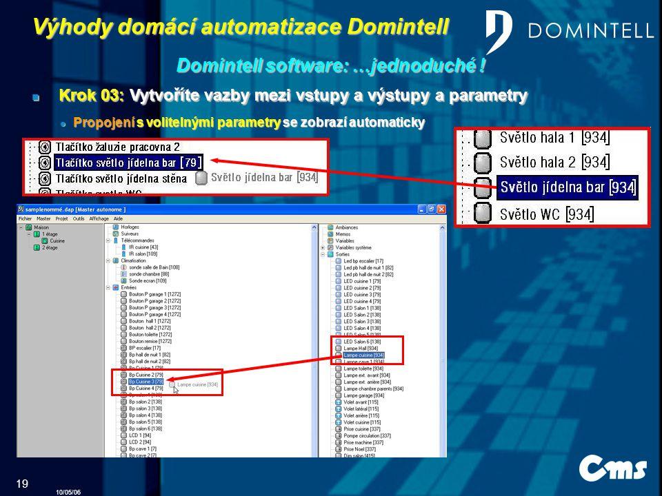 10/05/06 19 Výhody domácí automatizace Domintell Domintell software: …jednoduché .
