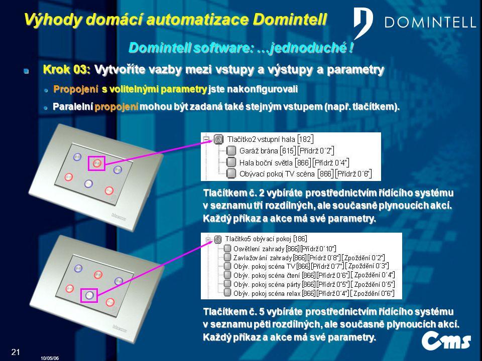 10/05/06 21 Výhody domácí automatizace Domintell Domintell software: …jednoduché .