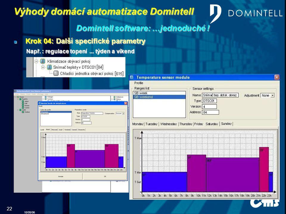 10/05/06 22 Výhody domácí automatizace Domintell Domintell software: …jednoduché .