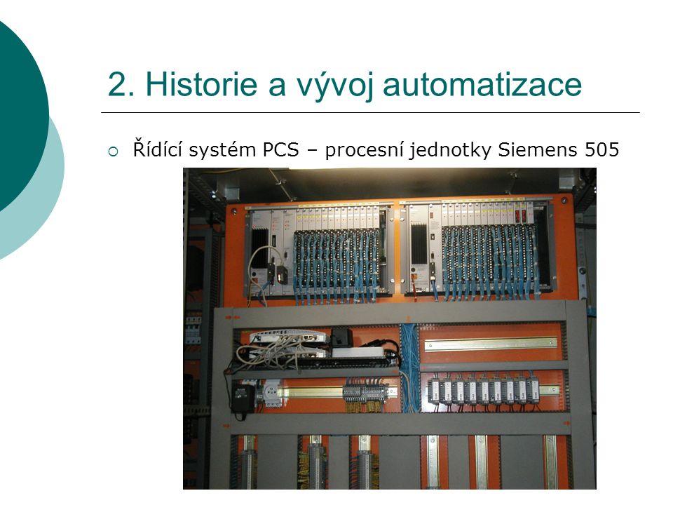 2. Historie a vývoj automatizace  Řídící systém PCS – procesní jednotky Siemens 505