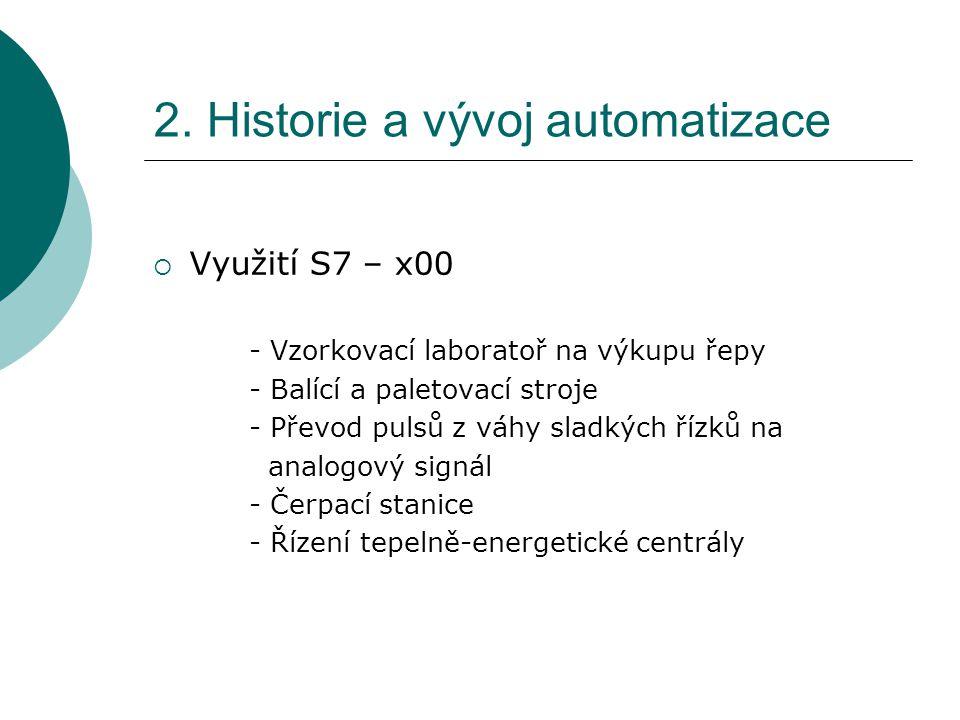 2. Historie a vývoj automatizace  Využití S7 – x00 - Vzorkovací laboratoř na výkupu řepy - Balící a paletovací stroje - Převod pulsů z váhy sladkých