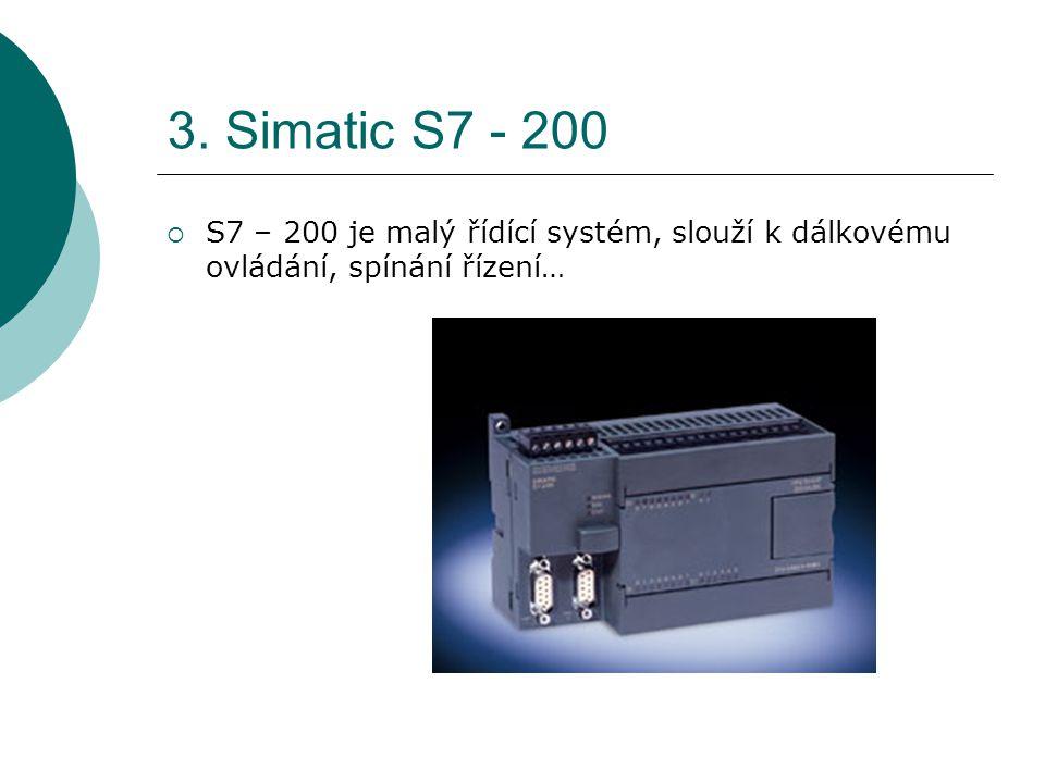 3. Simatic S7 - 200  S7 – 200 je malý řídící systém, slouží k dálkovému ovládání, spínání řízení…