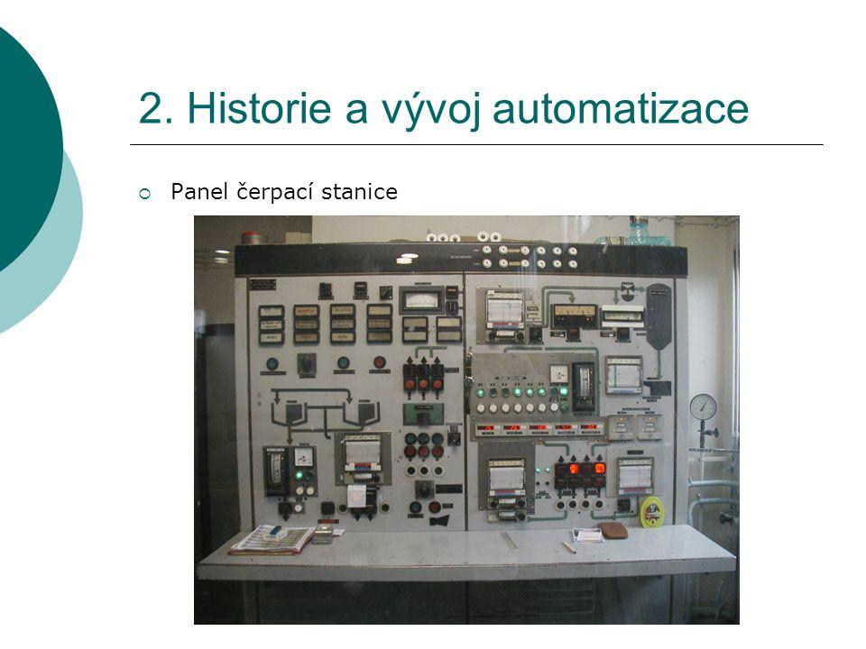 2. Historie a vývoj automatizace  Panel čerpací stanice