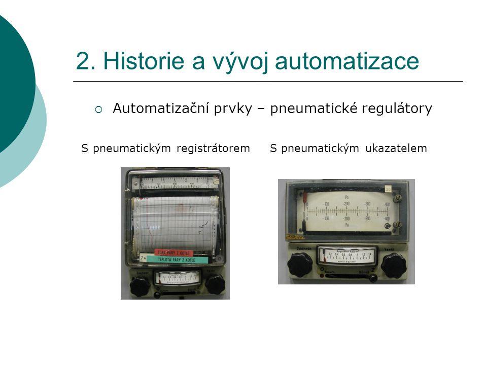 2. Historie a vývoj automatizace  Automatizační prvky – pneumatické regulátory S pneumatickým registrátorem S pneumatickým ukazatelem
