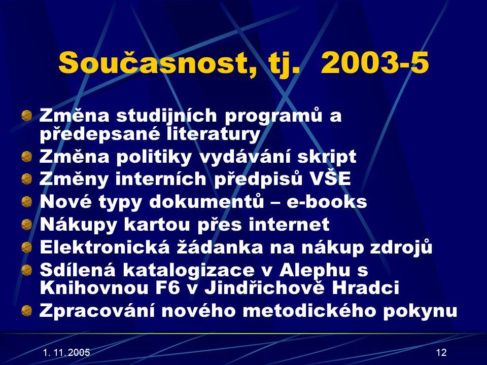 1. 11. 200512 Současnost, tj.