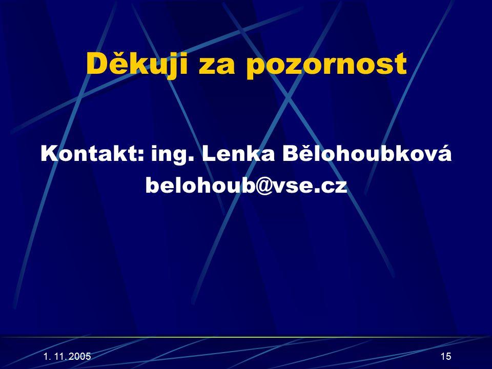 1. 11. 200515 Děkuji za pozornost Kontakt: ing. Lenka Bělohoubková belohoub@vse.cz