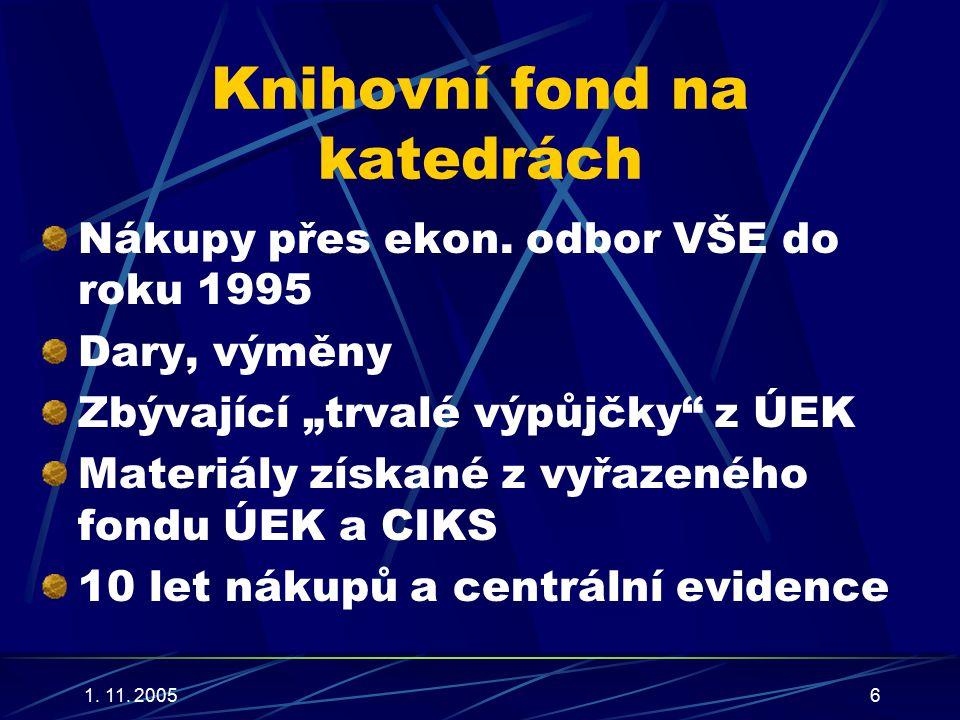 1. 11. 20056 Knihovní fond na katedrách Nákupy přes ekon.