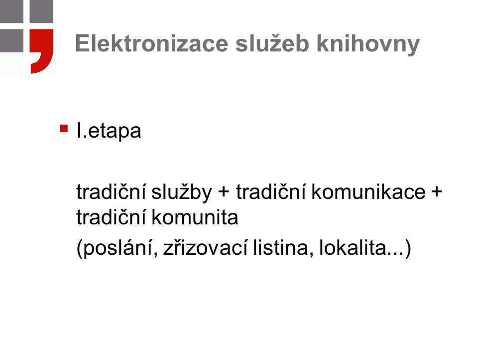 Elektronizace služeb knihovny  I.etapa tradiční služby + tradiční komunikace + tradiční komunita (poslání, zřizovací listina, lokalita...)