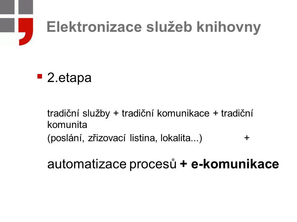 Elektronizace služeb knihovny  2.etapa tradiční služby + tradiční komunikace + tradiční komunita (poslání, zřizovací listina, lokalita...) + automatizace procesů + e-komunikace